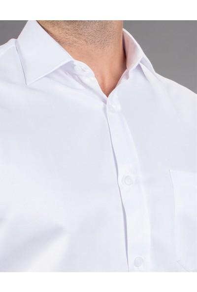 Tudors Klasik Fit Kısa Kol Düz Beyaz Erkek Gömlek