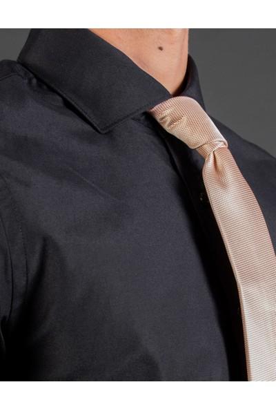 Tudors Slim Fit Düz Siyah Erkek Gömlek