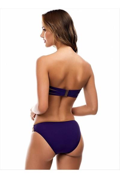 Ayyıldız 9523 Straplez Çapraz Biyeli Bikini Mor
