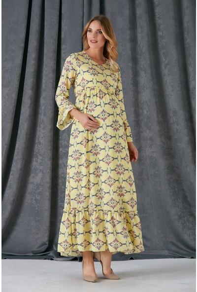 Gör&Sin Etek Ve Kol Fırfırlı Çiçek Desenli Hamile Elbise