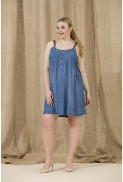 Gör&Sin Askılı Yakası Düğme Detaylı Hamile Elbise Kim Mavi