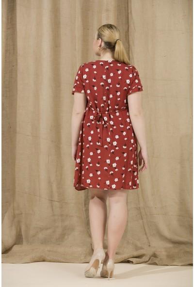 Gör&Sin Kolları Fırfır Detaylı Çiçek Desenli Hamile Elbise Kiremit
