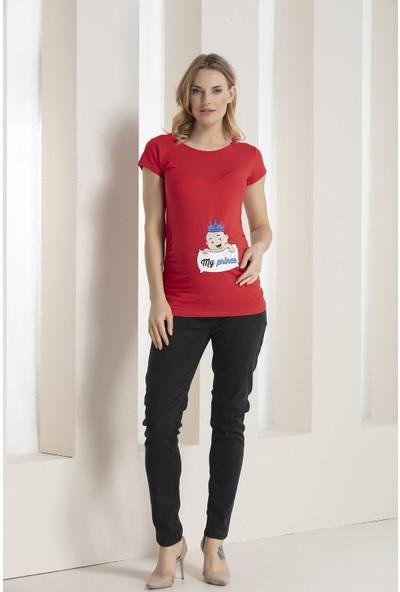 Gör&Sin Kırmızı Prenses Bebek Baskılı Hamile Tişörtü
