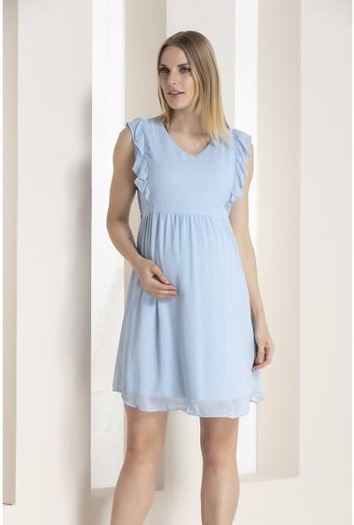 Gör&Sin Kolları Fırfır Detaylı Hamile Şifon Elbise Bebe Mavi