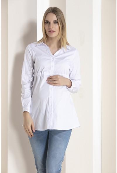 Gör&Sin Gömlek Yaka Hamile Tunik Beyaz