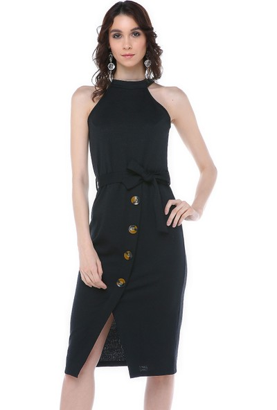 Graffin Siyah Önden Düğmeli Elbise