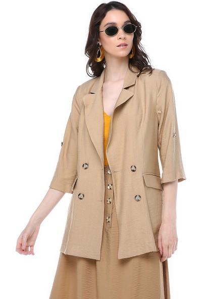Graffin Camel Blazer Kol Katlanabilir Yazlık Blazer Ceket