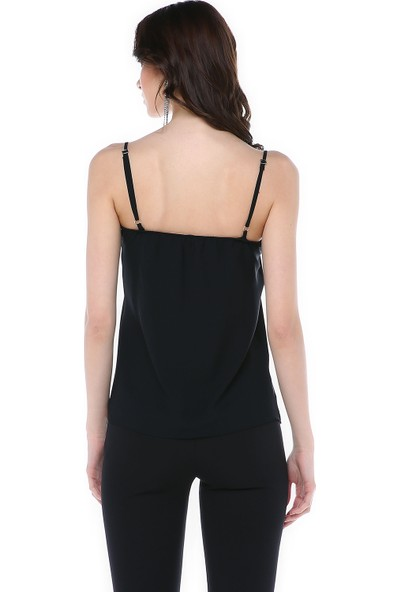 Graffin Siyah Altın Biye Detaylı Askılı Bluz