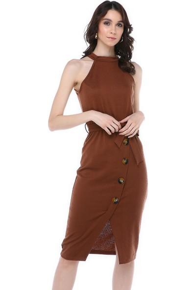 Graffin Kahverengi Kendinden Kemerli Elbise