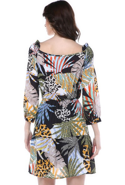 Graffin Desenli Li Omuz Detayli Elbise