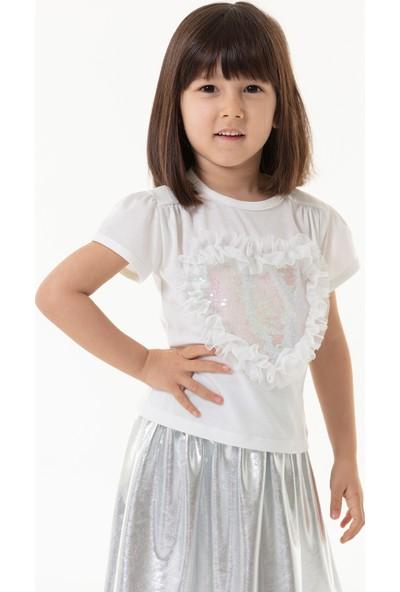 Colorinas Love Tutu Patch T-Shirt Kısa Kol Beyaz