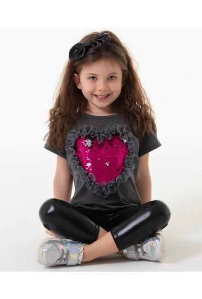Colorinas Love Tutu Patch T-Shirt Kısa Kol Füme