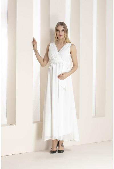 Gör&Sin Babyshower Hamile Şifon Elbise Beyaz