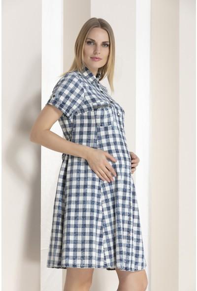 Gör&Sin Cepleri Taş Detaylı Yıkamalı Hamile Elbise Indigo