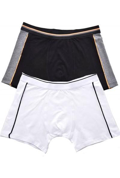 Tatkan Biyeli Sport Erkek 2 Li Penye Boxer Seti Siyah-Beyaz