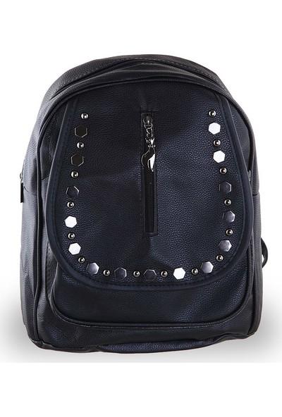 Depoms Büyük Boy Metal Aksesuarlı Kapaklı Sırt Çantası - Siyah