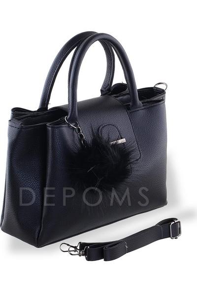 Depoms Ponpon Süslü Kol Çantası - Siyah