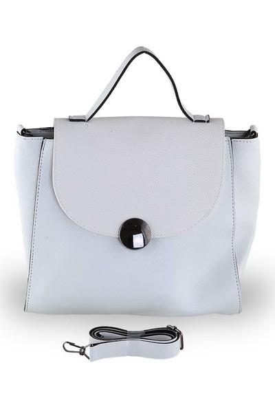 Depoms Sade Tasarımlı Orta Boy Çapraz Askılı El Çantası - Beyaz