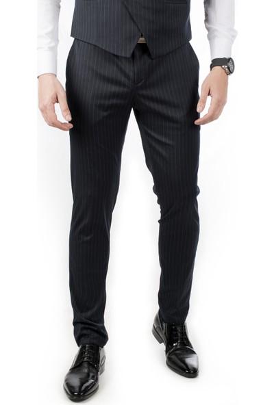 Deepsea Lacivert Çizgili Düşük Bel Klasik Erkek Kumaş Pantolon 1907435
