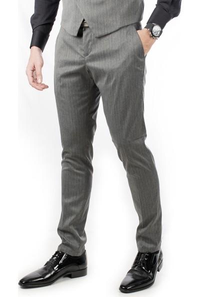 Deepsea Gri Çizgili Düşük Bel Klasik Erkek Kumaş Pantolon 1907435