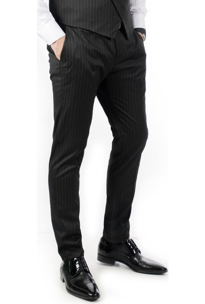 Deepsea Siyah Çizgili Düşük Bel Klasik Erkek Kumaş Pantolon 1907435