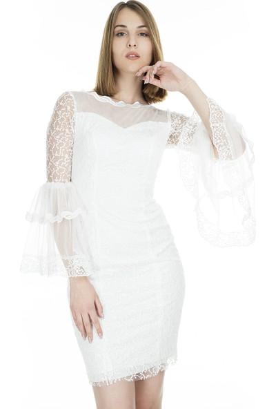 Trend Kolları Volanlı Kadın Abiye Elbise 4784235