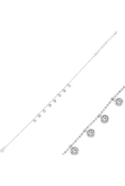 Bakalcik Gümüş 925 Ayar, Zirkon Taş İşlemeli, Yuvarlak ve Sallantılı Kadın Halhal
