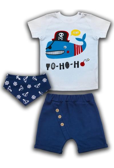 By Leyal For Kids Erkek Bebek Köpekbalığı Detaylı T-Shirt Bandana Ve Şort Takım