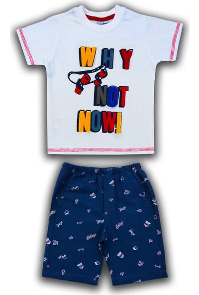 By Leyal For Kids Erkek Çocuk Wht Not Detaylı T-Shirt Ve Dokuma Şort Takım 194217