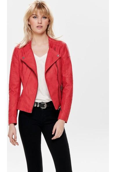Only 15102997 Kadın Ava Faux Leather Bıker Otw Noos Ceket Pıu High Risk Red