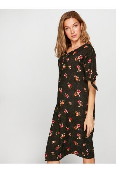 Faik Sönmez Kadın Puantiyeli Çiçekli Elbise 38435