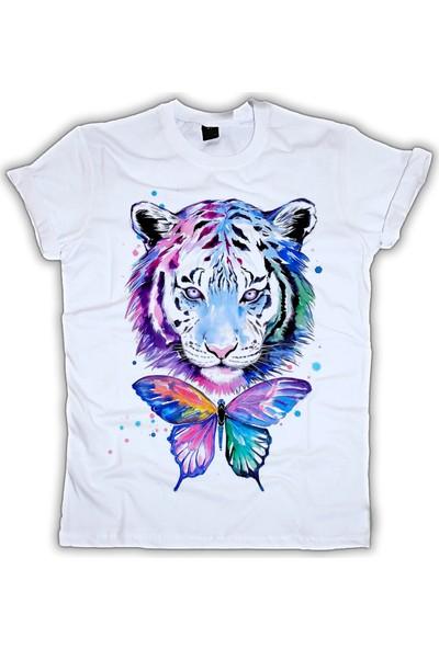 Grafik Baskı Yuvarlak Yaka Kaplan Baskı Desenli Kadın T-Shirt