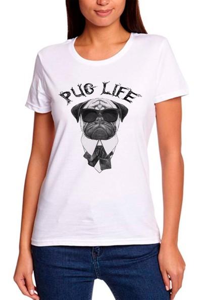 Grafik Baskı Yuvarlak Yaka Pug Life Baskı Desenli Kadın T-Shirt