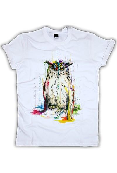 Grafik Baskı Yuvarlak Yaka Baykuş Baskı Desenli Kadın T-Shirt