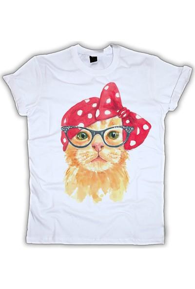 Grafik Baskı Yuvarlak Yaka Kedi Baskı Desenli Kadın T-Shirt