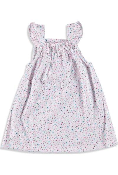 Hello Baby Bebek Kolları Fırfırlı Dokuma Elbise