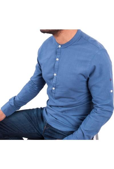 Zago İndigo Renk Hakim Yaka Erkek Spor Gömlek