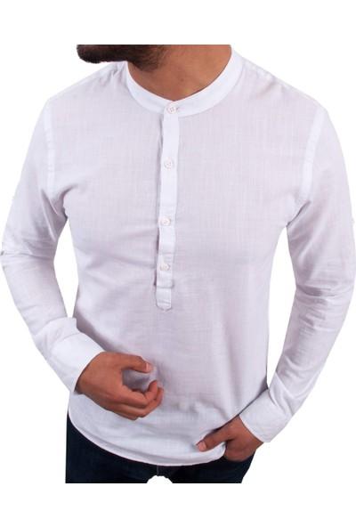 Zago Beyaz Renk Hakim Yaka Erkek Spor Gömlek