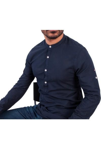 Zago Lacivert Renk Hakim Yaka Erkek Spor Gömlek