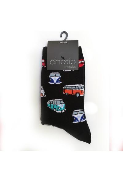 Chetic Araba Desenli̇ Si̇yah Çorap