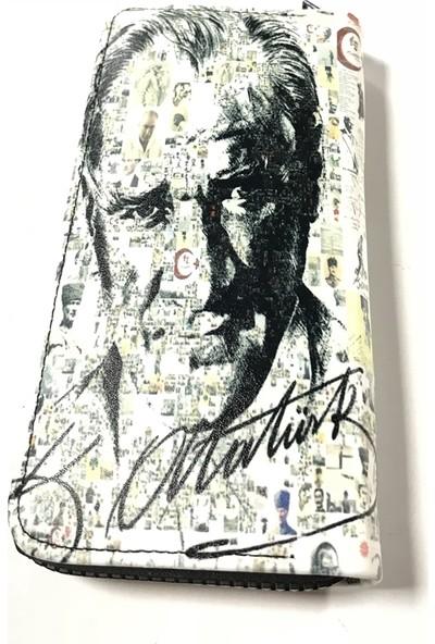 Atatürk İmzalı Beyaz Desen Kadın Cüzdan