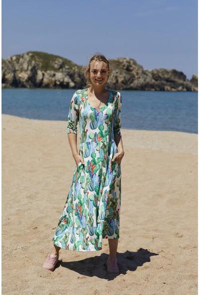 Five Fiction Kadın Baskılı Elbise