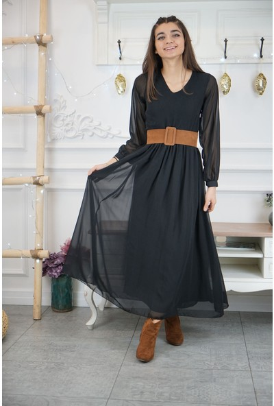 Bade Butik Siyah Şifon Taba Kemerli Elbise