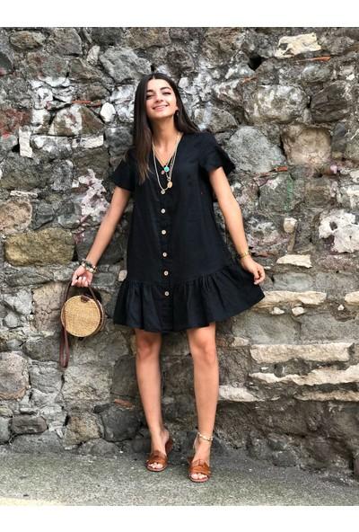 Bade Butik Siyah Keten Kısa Eylül Elbise