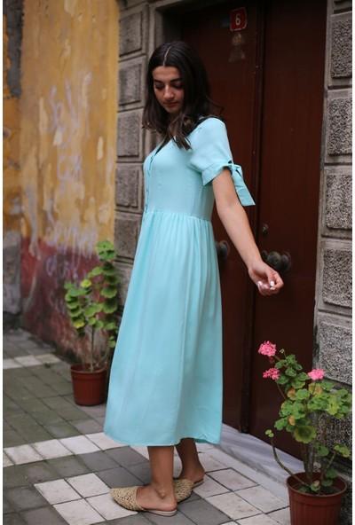 Bade Butik Su Yeşili Kısa Kol Düğmeli Elbise