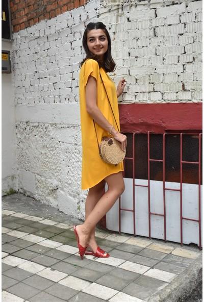 Bade Butik Sarı Kısa Penye Elbise