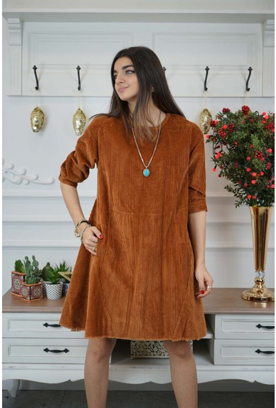 Bade Butik Taba Parçalı Cepli Kadife Elbise