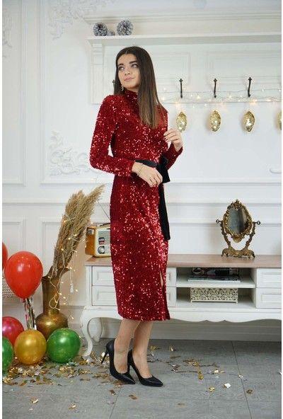Bade Butik Kırmızı Payetli Balıkçı Elbise