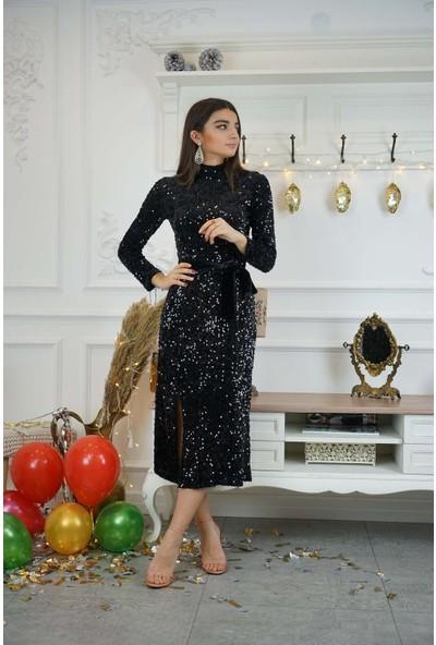Bade Butik Siyah Payetli Balıkçı Elbise