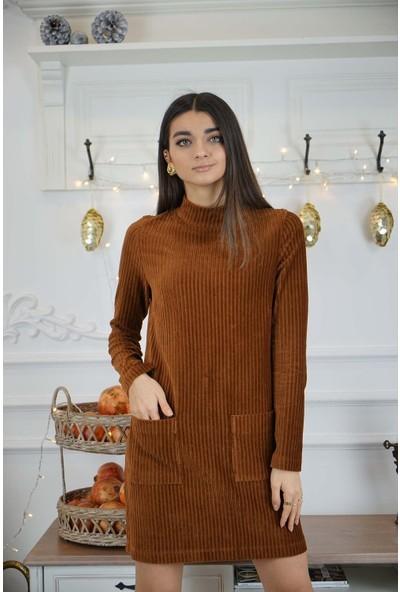 Bade Butik Karamel Arkası Fermuarlı Cepli Kadife Kısa Elbise